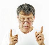 красавец, gesturing с белым фоном — Стоковое фото