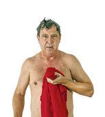 Muž spotřebují vlasy po sprše — Stock fotografie