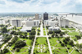 Aerial of baton Rouge with Huey Long statue and skyline — Stock Photo