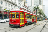 Passengers travel with the street car at Canal street downtown N — Stock Photo