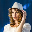 Stock Photo: Female Model poses for photografers at Photokina