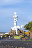 People visit memorial el Campesino — Stock Photo