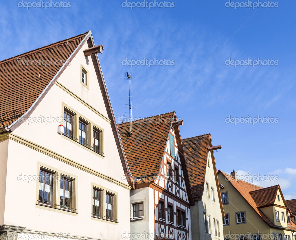 gable roof of traditional german half timbered house in medieval stock photo hackman 39989955. Black Bedroom Furniture Sets. Home Design Ideas