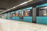 Subway ready to leave the station at Hauptwache — Stock Photo