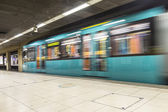 Subway leaving the station at Hauptwache — Stock Photo