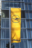 Lufthansa flag with Lufthansa symbol, the crane — Stock Photo