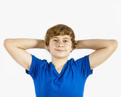 Handsome teenage boy with blue shirt — Stock Photo