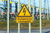 Warning of electric shock in the power plant  — Stockfoto
