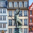 Statue of Lady Justice in front of the Romer in Frankfurt — Stock Photo #41363081