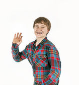 Happy friendly teenage boy — Stock Photo