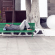 ARRECIFE, SPAIN - APRIL 3: man holds a siesta on a bench — Stock Photo #41903235