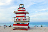 Lifeguards outpost tower in South Beach, Miami, Florida  — Stock Photo