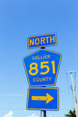 Street sign north collier route 851  — Stock Photo
