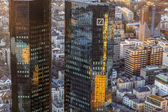Twint owers of deutsche bank in sunset, Frankfurt — Stock Photo