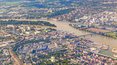 Aerial of industrial part of Mainz with river main — Foto de Stock