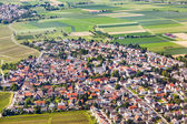 Aerial of small village of Wicker with fields — Stock Photo