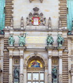 Hamburg, town hall, detail of the city hall or town hall of Hamb — Foto Stock
