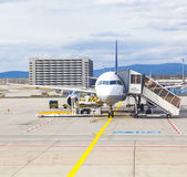 Lufthansa aircraft parking at the apron  — Stock Photo