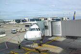 Lufthansa aircraft parking at the apron — Foto Stock