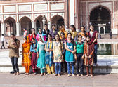 People pose for a group photo at Jama Masjid Mosque, old Delhi,  — Stock Photo