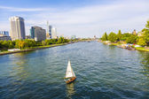 view to river main with boat and skyline of Frankfurt — Stock Photo