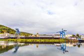 Crane and shipyard at river Mainin Erlenbach — Stock Photo