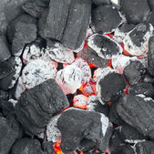 Burning charcoal in the background  — Stock Photo