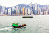 Landscape of Victoria Harbor and Hong Kong's iconic Star Ferry m — Stock Photo