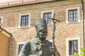 Statue of Pope John Paul II on Wawel in Krakow — Stock Photo