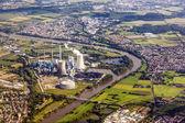 Aerial of Grosskrotzenburg power station, Main river, Germany — Stock Photo