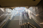 People enter the metro station in old delhi early morning — Stock Photo