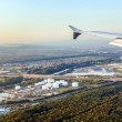 Approaching Frankfurt airport with view to the oil station — Stock Photo