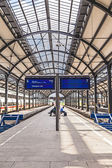People wait at iron classicistic train station in Wiesbaden — Stock Photo