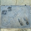 Handprints of Hugh Jackman in Hollywood Boulevard in the concret — Stock Photo #46632875