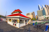 Fast food hut without clients in sunset — Stock Photo