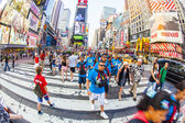Times Square, featured with Broadway Theaters and huge number of — Stock Photo