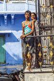 Indian family poses at the balcony — Stock Photo