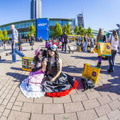 Public day at Frankfurt international Book Fair, colorful people made up as Manga from the Comic scene with costumes have a big party — Stock Photo