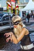 girl made up as Manga figure poses at frankfurt international b — Stock Photo