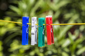 Clothes line with pegs  — Stockfoto
