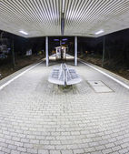 Empty station early morning in the dark — Stock Photo