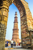 Qutub Minar Tower or Qutb Minar, the tallest brick minaret in th — Stock Photo