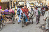 Cycle rickshaws with cargo load in the streets — Foto Stock