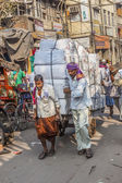 Cycle rickshaws with cargo load in the streets — Stock Photo