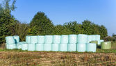 Bale of straw in plastic after harvest — Stock Photo