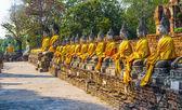 Boeddhabeelden bij de tempel van wat yai chai mongkol in ayutthay — Stockfoto