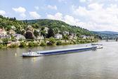 Freight ship at the river Neckar  — Stock Photo