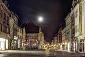 Old city of muelhausen in Thuringia in moonshine — Stock Photo