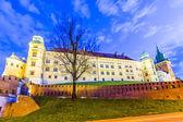 Wawel hill av natt - krakow — Stockfoto