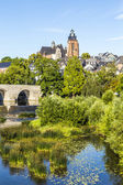 Old Lahn bridge and view to Wetzlar dome — Stok fotoğraf